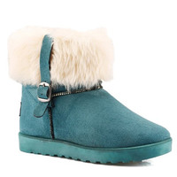 Faux Fur Design Flat Heel Snow Boots With Buckle
