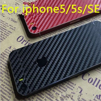 luxury 3D Carbon Fiber Full Body Back Film Sticker Case Cover Wrap Skin For Apple iPhone 5 5S SE Protective film