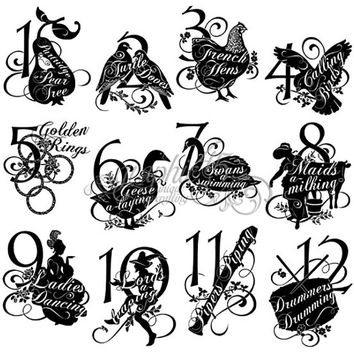 Graphic 45 The TWELVE DAYS of CHRISTMAS  Collection  Cling Rubber Stamp Set No. 2 Advent Calendar Dates
