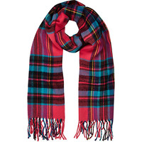 River Island Girls pink plaid check scarf