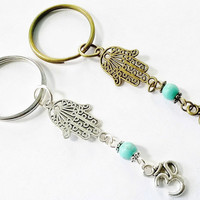 Antique silver or vintage bronze hamsa and ohm, om key ring