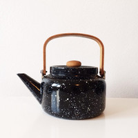 8 cup vintage tin speckled tea kettle