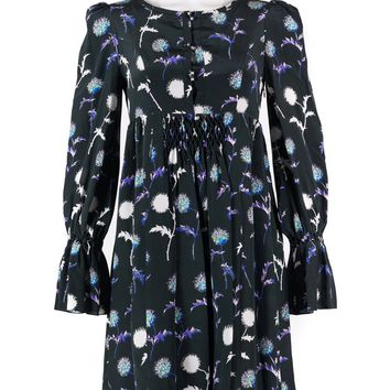 KENZO Womens Black Silk Dandelion Print Long-Sleeve Pleat Dress