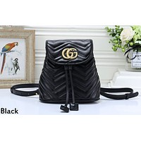 GUCCI 2019 new wave pattern double G female shoulder bag Messenger bag Black