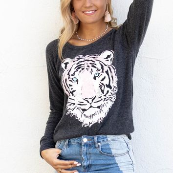 CHASER Black Sequin Tiger Top