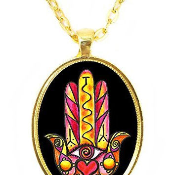 Love and Relationship Happiness Hamsa Huge 30x40mm Bright Gold Pendant with Chain Necklace