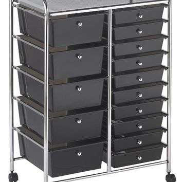 ECR4Kids 15-Drawer Mobile Organizer, Smoke