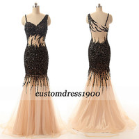 Long cap sleeve evening dress,handmade beading/crystal tulle prom dress,formal women dress/party dress