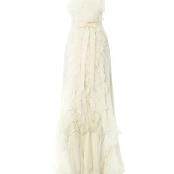 Tiered ruffle silk-lace gown