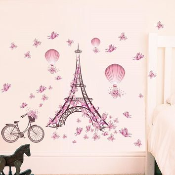 Eiffel Tower Bicycle Flower Hot Air Balloon Wall Stickers Decals Living Room Bedroom Decoration Wedding Decoration
