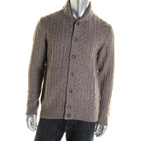 Hickey Freeman Mens Yak Blend Cable Knit Cardigan Sweater