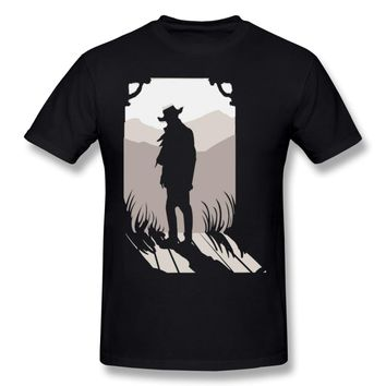 High-Q Picture Custom Old Western Silhouette Red Dead Redemption 2 T Shirt For Male New RDR Game Homme Tee Shirt S-6XL
