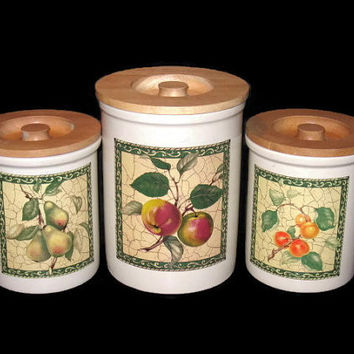 Vintage  Pimpernel Canisters, England Canisters, Home Decor, Canister Set, Vintage Kitchen, Kitchen Canisters, Fruit Canisters, Counter Jars