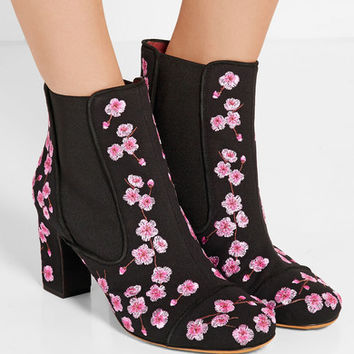Tabitha Simmons - Micki Blossom embroidered canvas ankle boots