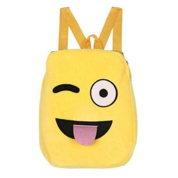 ICIKU7Q Optional Plush backpack toys for children Cute Emoji Emoticon Shoulder School Child Bag Backpack Satchel Rucksack