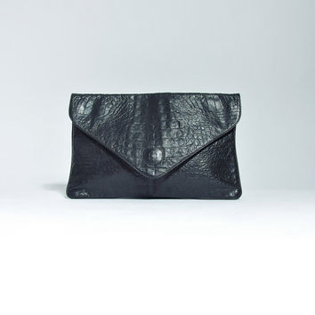 80s Crocodile Embossed Black Leather Clutch Purse / Minimalist Handbag