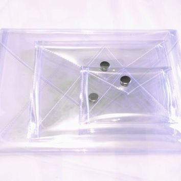 CLEAR ENVELOPE purses and clutches : small, medium and large
