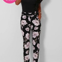 Dendritic Black and White Floral Print Trousers | Pink Boutique