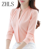 Spring Autumn Women Tops Long Sleeve Casual Chiffon Blouse Female V-Neck Work Wear Solid Color White Office Shirts For Women