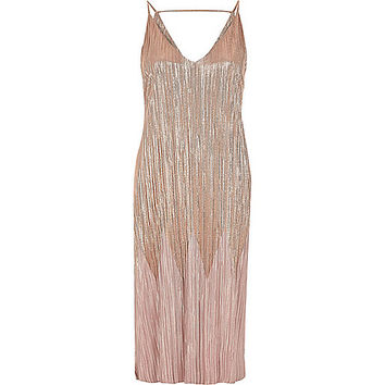 Rose gold metallic pleated midi dress - slip / cami dresses - dresses - women