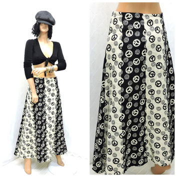 Vintage 90s boho maxi skirt M peace sign woven cotton long skirt 8 / 9  hippie festival skirt retro 70s style long skirt SunnyBohoVintage