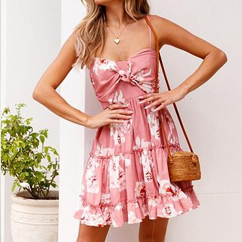 Print Floral Beach Dress Ruffles Spaghetti Strap Sexy Dress Short Casual Dress