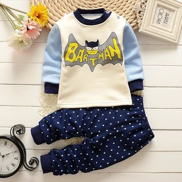 New 2016 Baby Boys girls clothes sets Thick warm cartoon batman superman cotton Suit 2pcs shirt +Pants Outfit Clothing Set Suit