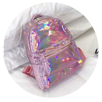School Backpack Silver Gold Pink Laser Backpack women girls Bag leather Holographic Backpack school bags for teenage girls AT_48_3