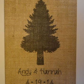 Carved Heart Tree Burlap Print with Names and Wedding Date - Heart Tree - Carved Tree - Burlap Art - Evergreen Tree - Custom Burlap Print