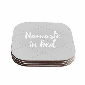 "KESS Original ""Namaste In Bed Grey"" White Gray Coasters (Set of 4)"