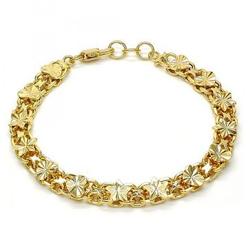 Gold Tone 03.168.0011.08.GT Fancy Bracelet, Star and Heart Design, Diamond Cutting Finish, Gold Tone