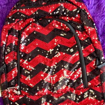 Spirit Sequin Bling Med Backpack red and black two sided magnetic closer