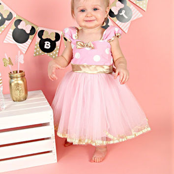 Pink And Gold Birthday Dress MINNIE MOUSE Minnie TUTU Pa