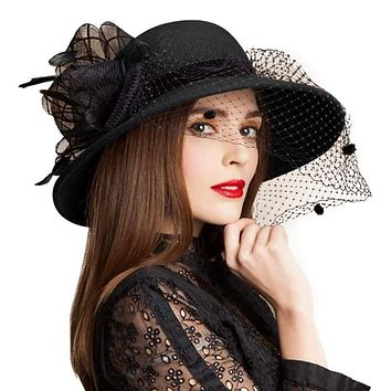 Black Wool Floral Veil Netting Feather Wide Brim Derby Formal Fedoras Hat