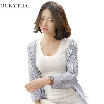 2018 Women new Spring Short Sleeve Short Fund Self-cultivation Thin Neck Unlined Upper Garment U Lead Low Chest Sexy T-shirt