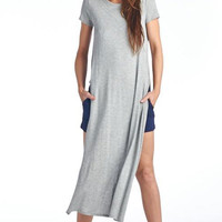 Essential Double Slit T-Shirt - Grey