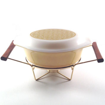 Vintage Pyrex Casserole with Warmer Stand - Pale Mustard Gold - Covered Baking Dish