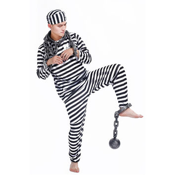 Halloween Clothes Adult Prisoners Role Playing Violent Prisoner Black and White Men and Women Masquerade Costumes