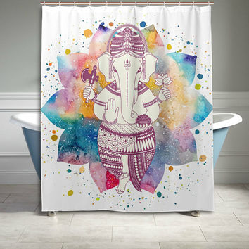 Colorful Watercolor Indian Buddha Ganesha Mandala Polyester Fabric Shower Curtain Bathroom Sets Home Decor 60 X 72 Inches