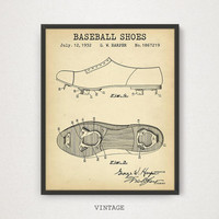 Baseball Shoes Patent Print, Digital Download, Baseball Poster Printables, Sports Shoes Blueprint Art, Boys Room Decor, MLB Baseball Gifts