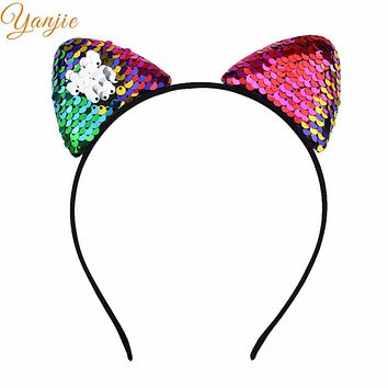 Hair Style Reverse Glitter Sequins Girl Cat Ear Hairband Headband 2018 Sexy Flip Women DIY Hair Accessories For Kids Mermaid