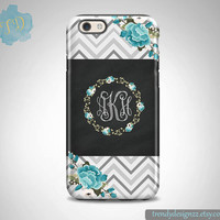 iPhone case, Personalized iPhone case, iPhone 6 case iPhone 5 Samsung S6  S5 case Gray Chevron Blue Flowers Floral, Chalkboard Design (3)