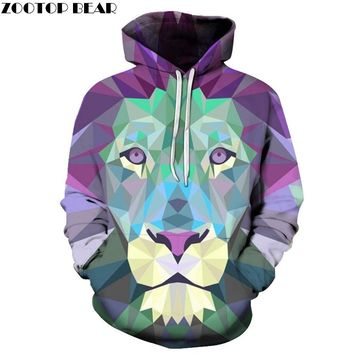 Purple Diamond Lion Hoodies 3D Printed Plus Size Sweatshirts Hooded Tracksuits Pocket Jackets Fashion Casual Novelty Coat