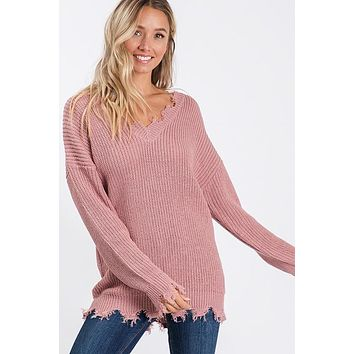 Frayed Trim Drop Shoulder Sweater - Mauve