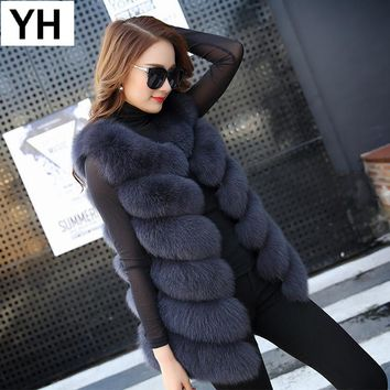 2018 Autumn Winter Women Real Fox Fur Vest Female Genuine Fox Fur Coat Leather Jacket Warm Lady Gilet Natural Fox Fur Waistcoat