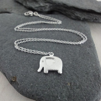 Silver Elephant Necklace, Dainty Silver Elephant with Heart, Delicate Fine Silver Chain, Simple Modern Necklace
