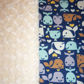 Whale Blanket With Cream Swirl or Blue Minky