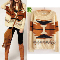 Bohemia Geometry Lovely Loose Long Sleeve Sweater