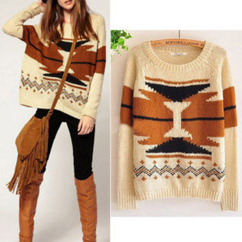 Women Aztec Knitted Scoop Neck Geometric Print Jumper Sweater Pullover Knitwear