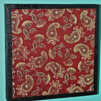 Red Paisley Wall Decor by AquaXpressions on Etsy